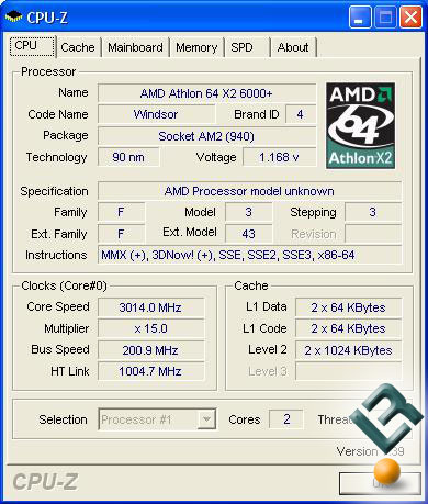 AMD Athlon 64 X2 6000+ CPU-Z