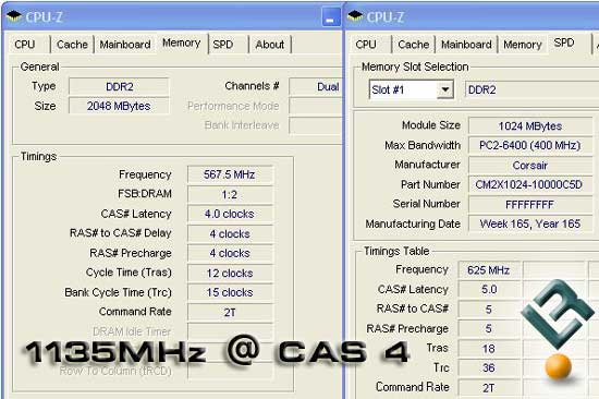 PC2-1000054 Memory Overclocked as C4 Timings