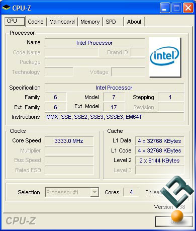Intel Yorkfield CPU-Z Screenshot