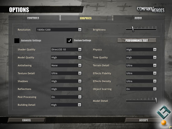 Company of Heroes Benchmarking Settings