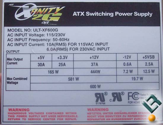 Ultra X-Finity 600W Power Supply Label