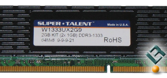 Super Talent 2GB DDR3 1333MHz Memory Kit
