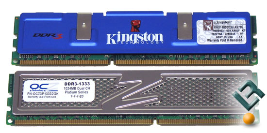 Kingston and OCZ DDR3 1333MHz PC3-10666 Memory Kits
