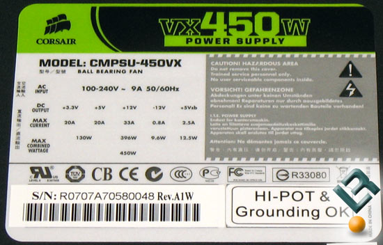 Corsair VX450W 450 Watt Power Supply Ratings
