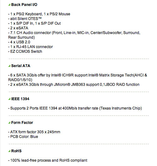 abit IP35 Pro Motherboard Specifications