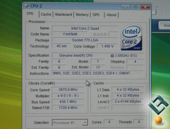 Intel 3GHz 45nm Yorkfield Overclocked