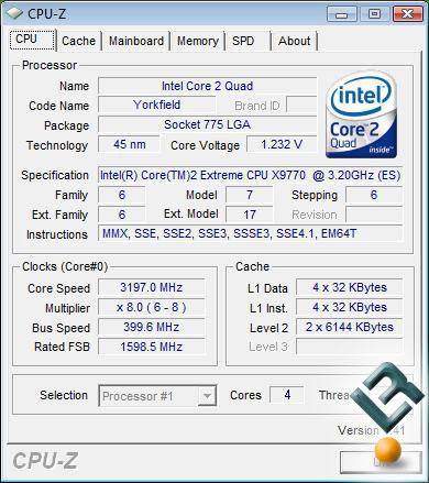 Intel Yorkfield QX9770 CPU-Z Shot