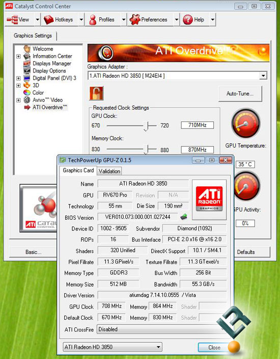 Overclocking The Diamond Radeon HD 3850 512MB Video Card