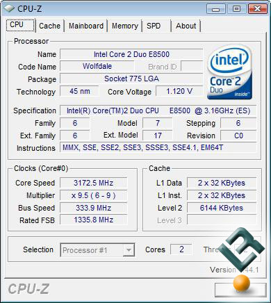 Intel Core 2 Duo E8500 - CPU-Z Data