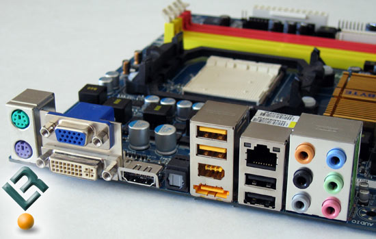 Gigabyte GA-MA78GM-S2H motherboard rear I/O panel