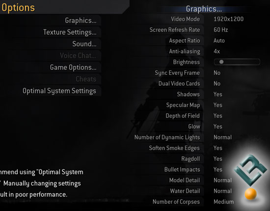 Call of Duty 4 v1.2 Benchmark Settings