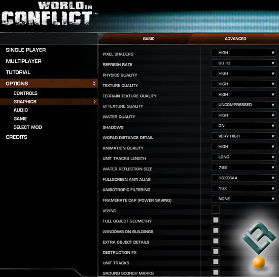 World in Conflict Benchmark Settings