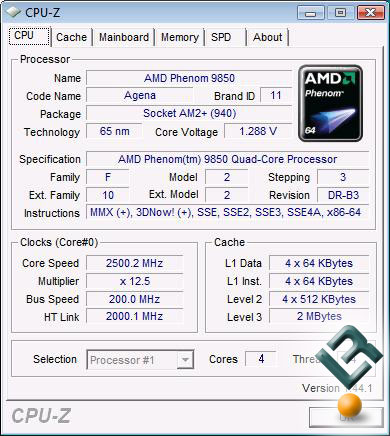 AMD Phenom 9850 Processor Stock Settings