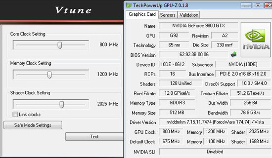 NVDIA GeForce 9800 GTX Max Overclock