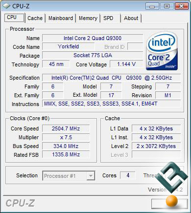Intel Core 2 Quad Q9300 Processor Default Settings