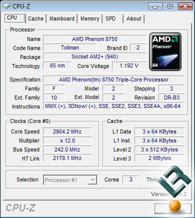 AMD Phenom X3 8750 Processor Stock Settings