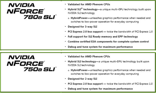 NVIDIA nForce 7 Series - 750a SLI and 780a SLI