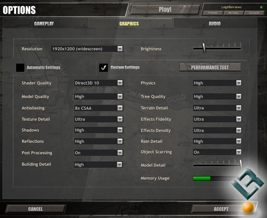 Company of Heroes Benchmark Settings