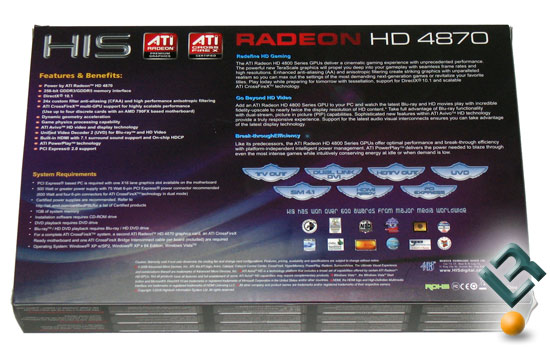 HIS Radeon HD 4870 Graphics Card Retail Box Back