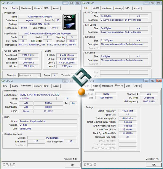 The AMD Phenom X4 9350e Processor Test System