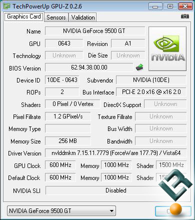 GeForce 9500 GT CPU-Z 0.26