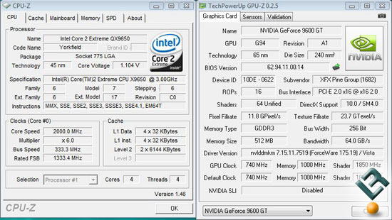 XFX 9600GT Stock Clocks