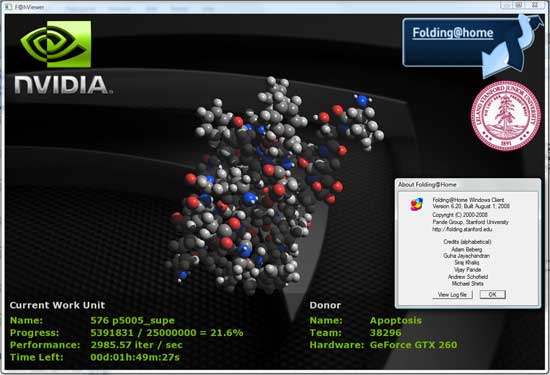 The NVIDIA F@H Viewer