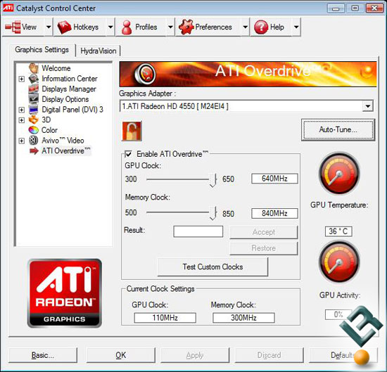 ATI Radeon HD 4550 Video Card Overclocking