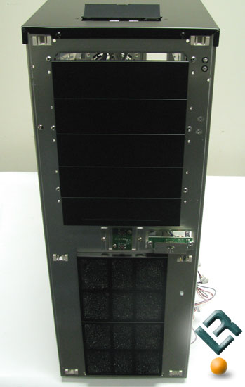 behind the front panel of the Lian Li PC-A7010