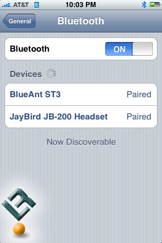 JayBird JB-200 Paired with iPhone