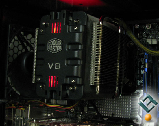 Cooler Master V8 CPU Cooler in the dark