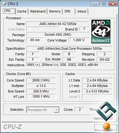 AMD Athlon X2 5050e Processor CPU-Z