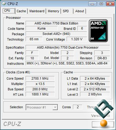 AMD Athlon X2 7750 Processor CPU-Z