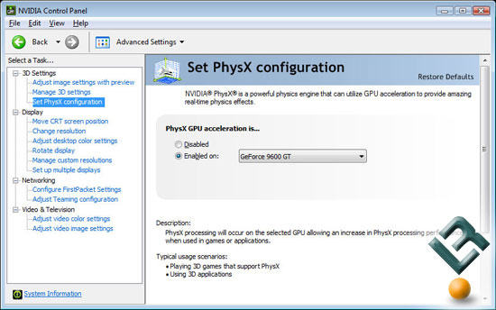 Enabling NVIDIA PhysX in the Control Panel