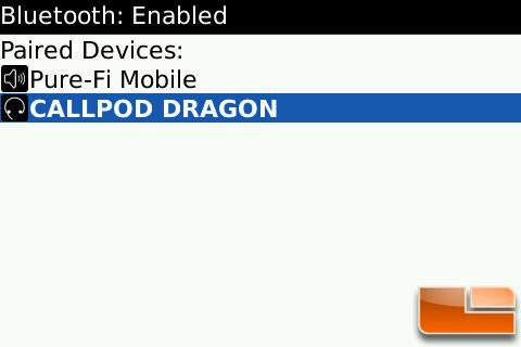 Callpod Dragon Paired with Blackberry