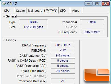 12GB DDR3 Memory CPU-Z Screen Shot