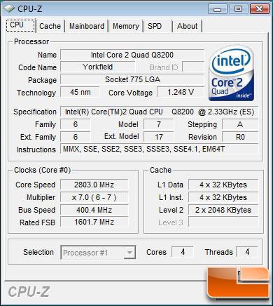 Intel Core 2 Quad Q8200 Processor Overclocked to 400MHz FSB