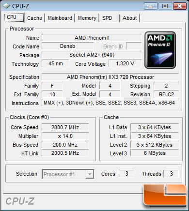 AMD Phenom II X3 720 Black Edition CPU CPU-Z