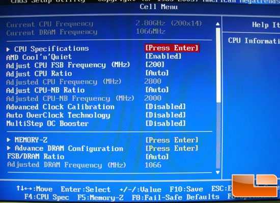 MSI 790GX G65 BIOS Cell Menu
