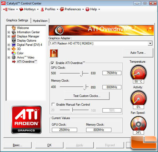 ATI Radeon HD 4770 Video Card Overclocking