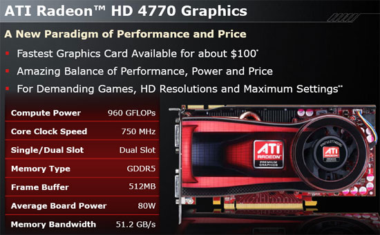 ATI Radeon HD 4770 512MB Video Card Front