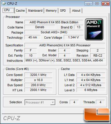 AMD Phenom II X4 955 Black Edition Processor Default Settings