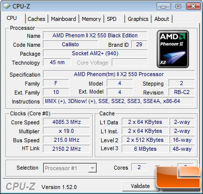 AMD Phenom II X2 550 Overclock