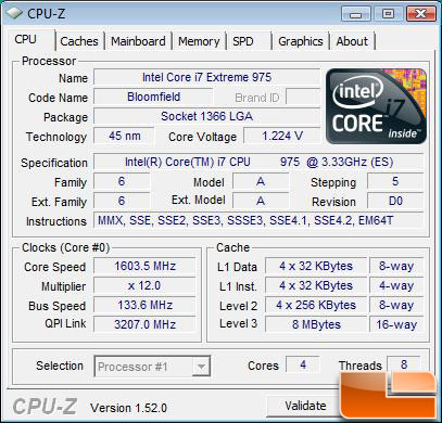Intel Core i7-975 Extreme Edition Processor Idle