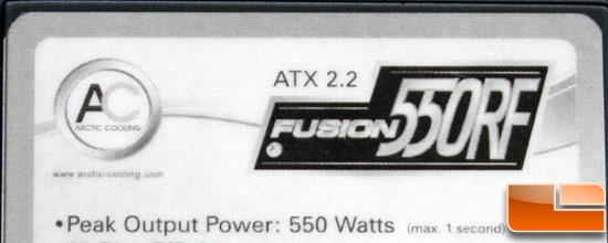 Arctic Cooling Fusion 550RF PSU Label