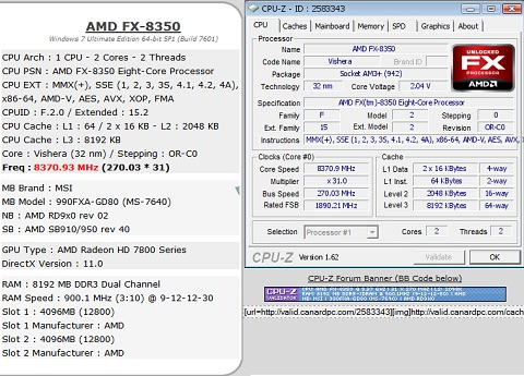 AMD FX-8350 Overclocked to 8.4GHz