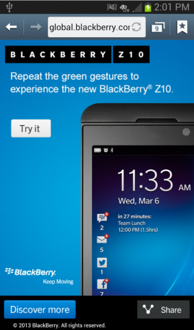 BlackBerry 10 Glimpse