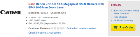 Canon EOS-b Pre-Order on Best Buy