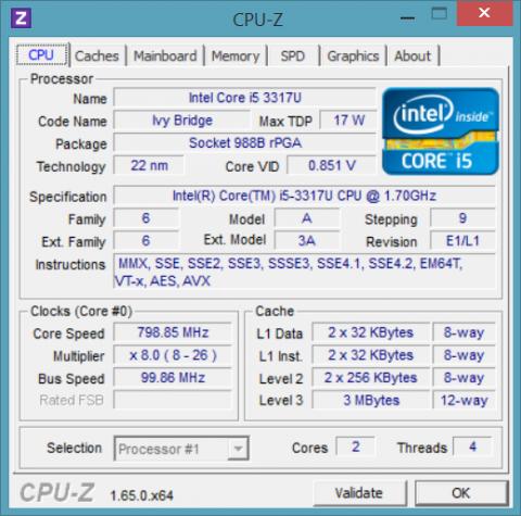 CPU-Z 1.65 Utility