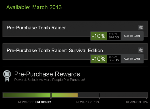 Steam's Tomb Raider pre-purchase offer